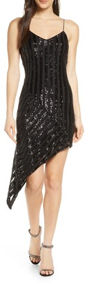 ONE33 SOCIAL Sequin Stripe Asymmetrical Cocktail Dress
