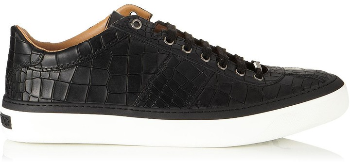 Jimmy Choo PORTMAN Black Mock Croc Low Top Trainers
