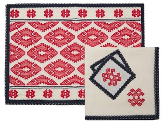 Vita Kin Bodrum Embroidered-linen Table Set - Red Multi