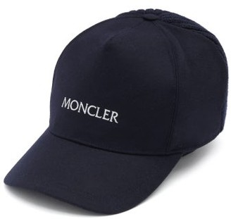 Moncler Logo-embroidered Wool Cap - Navy