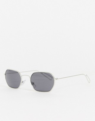 Weekday Yachy hexagon sunglasses in silver
