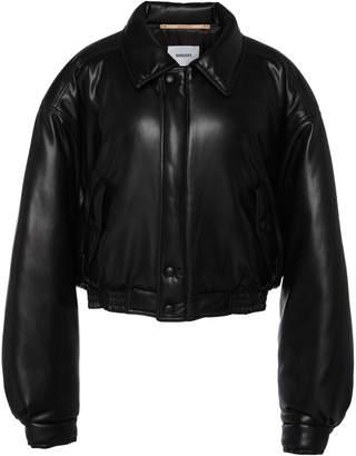 Nanushka Bomi Cropped Faux Leather Bomber Jacket Size: XS