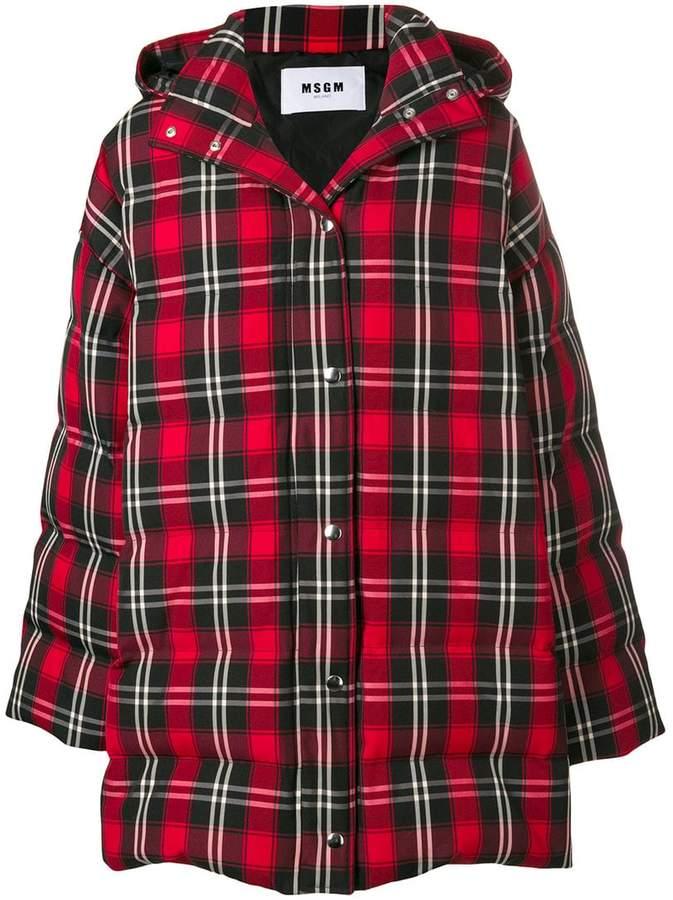 MSGM tartan oversized puffer jacket