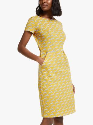 Boden Phoebe Short Sleeve Cheetah Dress, Yellow