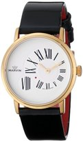 Marvin Women's M025.52.25.64 Origin White Dial Rose Gold Plated Black Patent Leather Strap Watch