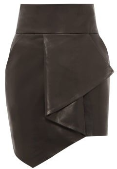 Alexandre Vauthier Asymmetric Leather Mini Skirt - Womens - Black
