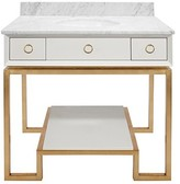 The Well Appointed House Worlds Away Owen White Vanity with Gold Base