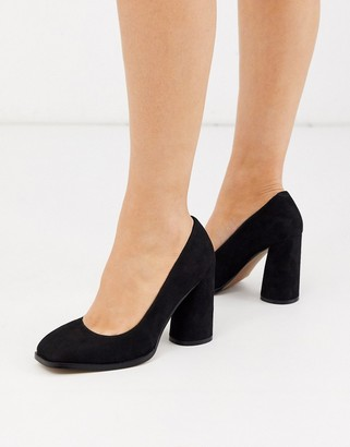 ASOS DESIGN Pinky square toe block heeled court shoes in black