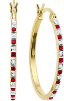 FINE JEWELRY Lead Glass-Filled Ruby & Diamond Accent 18K Gold Over Silver Hoop Earrings