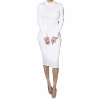 Your New Look Womens Sexy Turtleneck Long Sleeve Bodycon Dress High Neck Basic Dress Solid Color Pencil Dress for Work Party Club White
