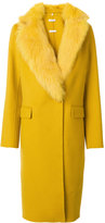 P.A.R.O.S.H. fur-trim coat - women - Fox Fur/Polyester/Wool - M