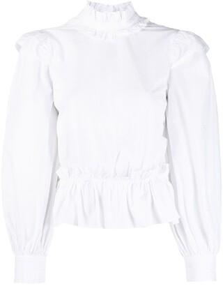 Ganni Open Back Ruffle-Detail Shirt
