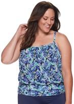 Plus Size A Shore Fit Floral Tummy Slimming Mesh Blouson Tankini