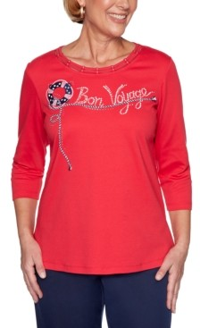Alfred Dunner Petite Ship Shape Embroidered Lattice-Trim Top