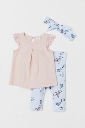 H&M 3-piece Cotton Jersey Set - Pink