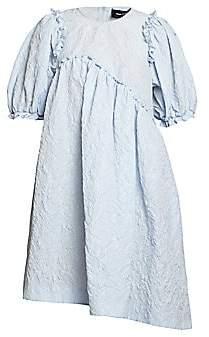 Simone Rocha Women's Puff-Sleeve Jacquard Babydoll Dress