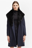 French Connection Platform Felt Faux Fur Longline Coat