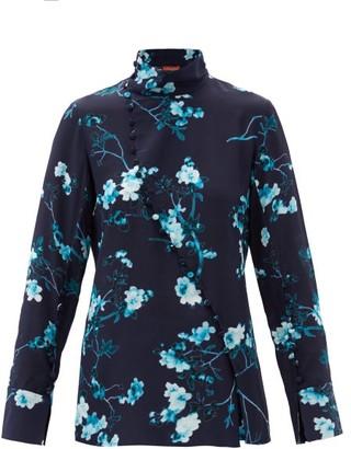 Altuzarra Marjorie Floral-print Silk Top - Blue