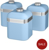 Swan Retro Set Of 3 Cannisters - Sky Blue
