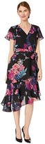 Tahari ASL Petite Short Sleeve Printed Chiffon Dress with Asymmetrical Tiered Hemline (Pink/Purple Floral) Women's Dress