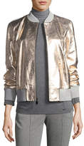 St. John Metallic Napa Leather Bomber Jacket, Gold