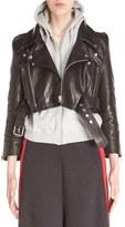 Vetements Women's Crop Leather Biker Jacket