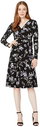 Lauren Ralph Lauren Printed Matte Jersey Coreen Long Sleeve Day Dress (Black/Purple/Multi) Women's Clothing