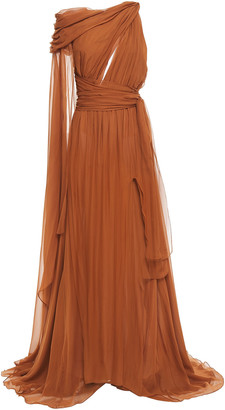 Dundas Draped Cutout Silk-voile Gown