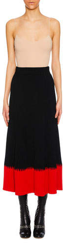 A-Line Long Ribbed Skirt w- Contrast Tip