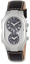 Philip Stein Teslar Stainless Steel Dual Dial Leather Strap Watch