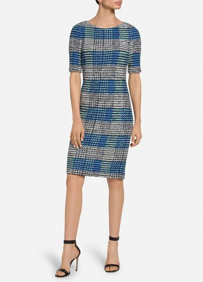 St. John Ribbon Plaid Knit Bateau Neck Dress