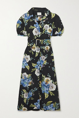 Erdem Frederick Belted Floral-print Cotton-poplin Midi Shirt Dress - Black