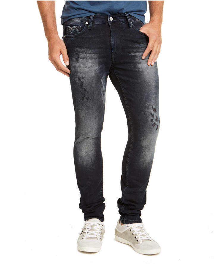 GUESS Men Skinny Fit Midnight Acid Destroyed Morocco Jeans