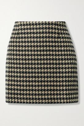 Anine Bing Marie Houndstooth Wool-blend Mini Skirt - Beige