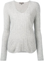N.Peal cashmere diagonal cable V-neck jumper - women - Cashmere - M