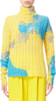 DELPOZO Bicolor Cable-Knit Turtleneck Sweater, Blazing Yellow