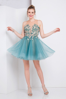 Terani Couture 1722H4587 Floral Illusion Halter A-line Dress