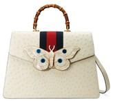 Gucci Falena Moth Ostrich Leather Satchel - White