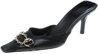 Gucci Black Guccissima Canvas Horsebit And Bits Chain Slides Size 37