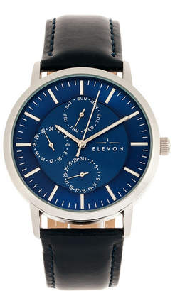 Elevon Men Lear Genuine Leather Strap Watch 42mm