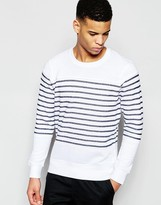Pull&bear Striped Sweatshirt In White And Navy