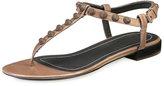 Balenciaga Studded Leather Flat T-Strap Sandal, Gris Asphalte