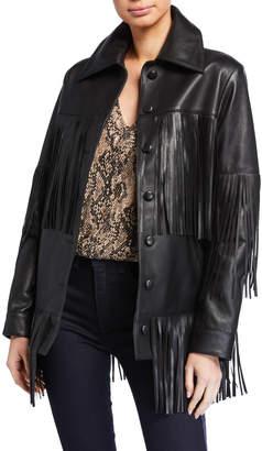 Dan Cassab Rimon Lamb Leather Fringe Jacket, Black