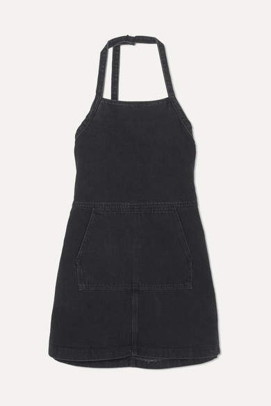 Sandy Liang Wrangler Open-back Denim Mini Dress - Black