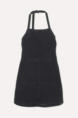 Sandy Liang Wrangler Open-back Denim Mini Dress - Black