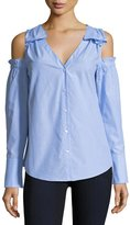 Club Monaco Shiyah Split-Neck Cold-Shoulder Poplin Shirt