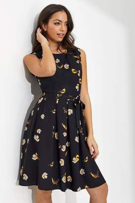 Yumi Womens Bird Print Skater Dress - Black