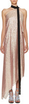 Roland Mouret Copernicus Metallic Georgette Halter Dress, Pink/Black