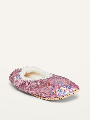 Old Navy Sherpa-Lined Sequin Slippers for Girls
