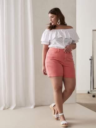 Pink Denim Shorts with Frayed Hem